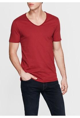 Mavi V Yaka Bordo Basic T-Shirt