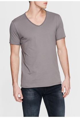 Mavi V Yaka Gri Basic T-Shirt