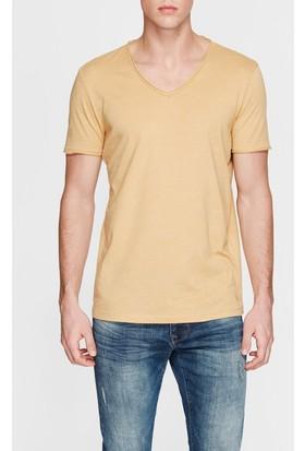 Mavi V Yaka Sarı Basic T-Shirt