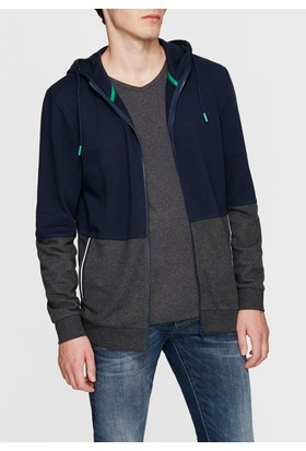 Mavi Fermuarlı Lacivert Sweatshirt