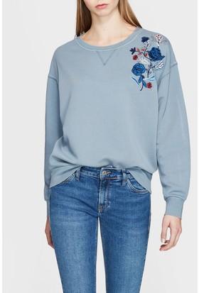 Mavi Nakışlı Mavi Sweatshirt