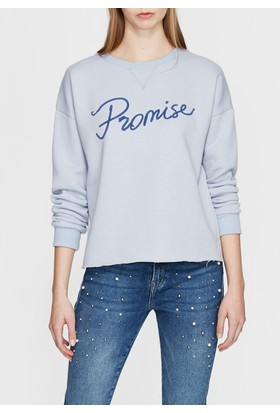 Mavi Promise Baskılı Mavi Sweatshirt