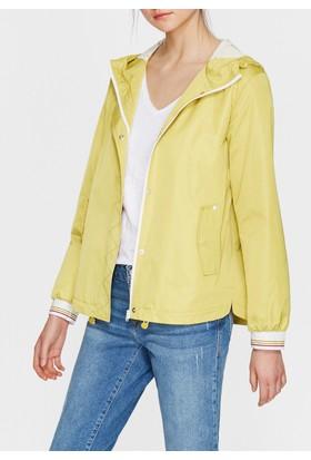 Mavi Kapüşonlu Vintage Sarı Ceket