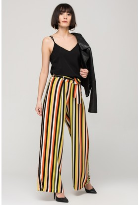 Modashop Çizgili Desen Bol Pantolon