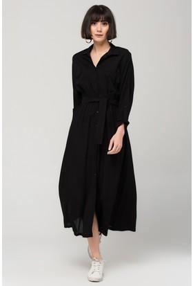 Modashop Siyah Çift Cepli Gömlek Elbise
