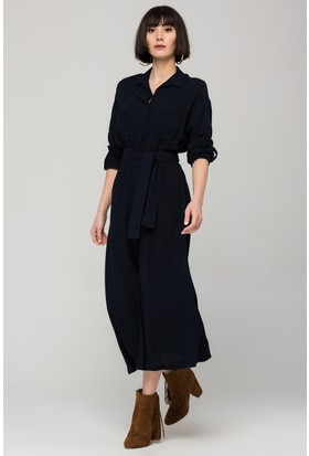 Modashop Lacivert Çift Cepli Gömlek Elbise