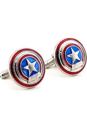 Solfera Captain America Shield Kalkan Marvel Comics Kol Düğmesi Cx181