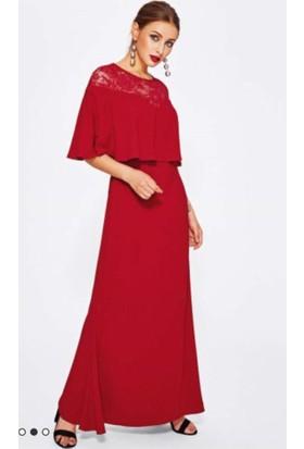 Kl792 Üstü Dantel Büyük Beden Uzun Abiye Elbise Kırmızı