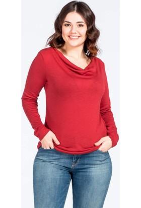 Büyük Beden Degaje Yaka Kırmızı Bluz Kl882