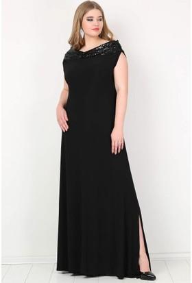 Kl126P Büyük Beden Öpücük Yaka Payetli Likralı Uzun Abiye Elbise Siyah