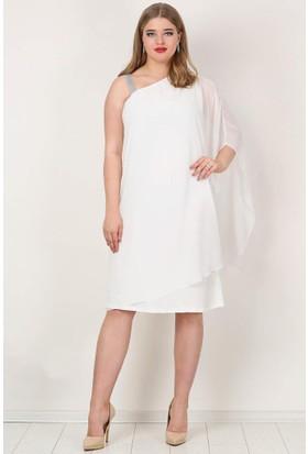 Kl6060K Büyük Beden Şifon Tek Taraf Askılı Elbise Beyaz