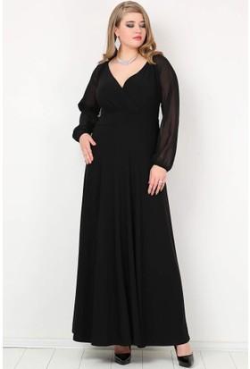 Kl59S Büyük Beden Abiye Kolları Şifon Uzun Abiye Elbise Siyah