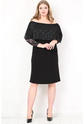 Kl779K Büyük Beden Omzu Açık Mini Abiye Elbise Siyah