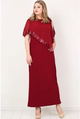 Kl8022U Büyük Beden Payetli Uzun Abiye Elbise Bordo