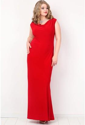 Kl4001 Büyük Beden Uzun Abiye Elbise Kırmızı