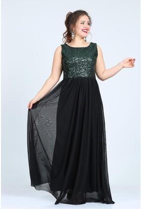 Kl7885 Yeşil Abiye Elbise