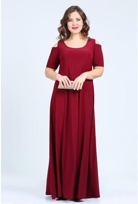 Kl1101U Bordo Abiye Elbise