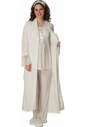 Şık Mecit 1800 Uzun Sabahlıklı Üçlü Hamile Lohusa Pijama Takımı