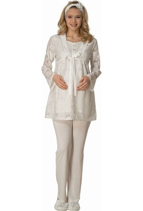 Şık Mecit 1804 Dantel Sabahlıklı Kısa Kollu Üçlü Hamile Lohusa Pijama Takımı