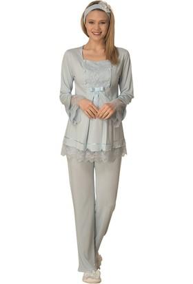 Şık Mecit 1820 Robası Taşlı Hamile Lohusa Pijama Takımı