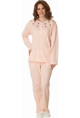 Şık Mecit 1846 Kadın Pamuk Penye Büyük Beden Uzun Kol Pijama Takımı