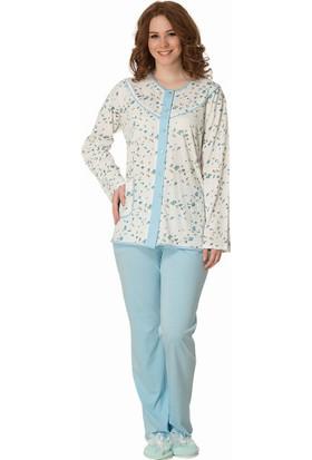 Şık Mecit 1845 Kadın Laleli Önden Düğmeli Büyük Beden Uzun Kollu Pijama Takımı
