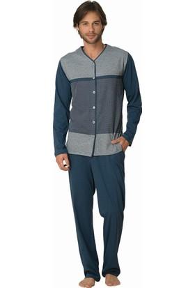 Şık Mecit 2808 Erkek Jakarlı Süprem Önden Düğmeli Uzun Kol Pijama Takımı
