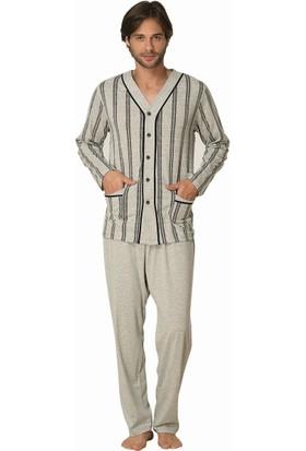 Şık Mecit 2809 Erkek Melanj Önden Düğmeli Uzun Kol Pijama Takımı
