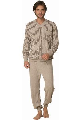 Şık Mecit 2810 Erkek Melanj V Yaka Uzun Kol Pijama Takımı