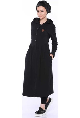 Zemin Giyim Kapüşonlu Pileli Armalı Hırka-9103