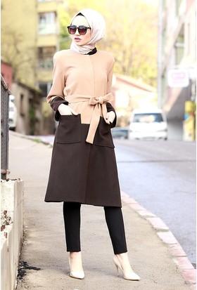 Zemin Giyim Çift Renk Kaşe Kaban-9212
