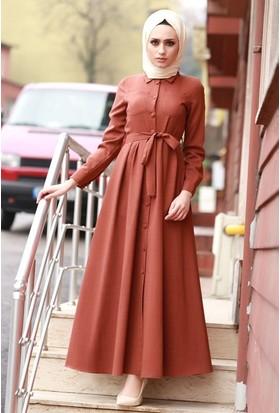 Zemin Giyim Önü Düğmeli Keten Elbise-4009