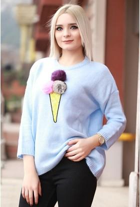 Zemin Giyim Dondurma Desenli Kazak-5942