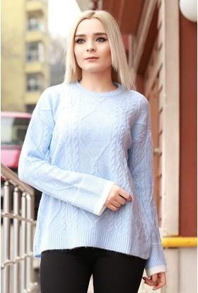 Zemin Giyim Örgü Desenli Kazak-5911