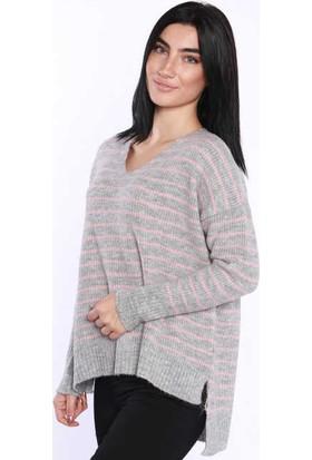 Zemin Giyim Çizgili V Yaka Kazak-5938