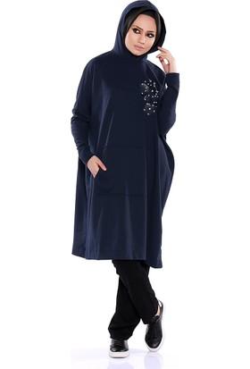 Zemin Giyim Kapüşonlu Derili Tunik-9787