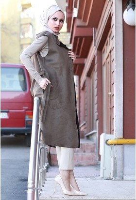 Zemin Giyim Kuşaklı Cepli Yelek-7112