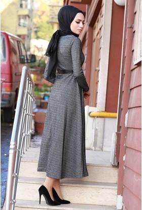 Zemin Giyim Deri Kemerli Elbise-2490