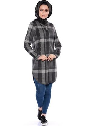 Zemin Giyim Ekose Desen Tunik-5057