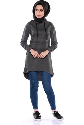 Zemin Giyim Önü Baskılı Sweat Tunik-7056