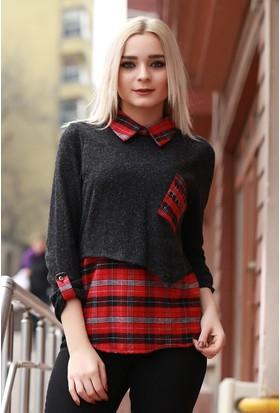Zemin Giyim Kareli Garnili Gömlek-5349