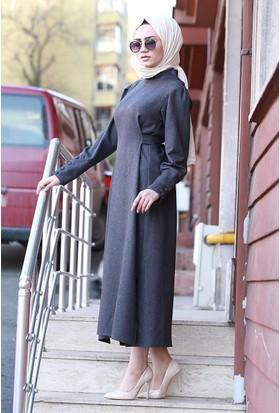 Zemin Giyim Yırtmaçlı Uzun Tunik Elbise-4033