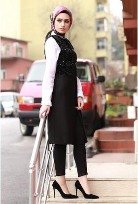 Zemin Giyim Önü Peluşlu İnci Çakmalı Yelek 70121-83