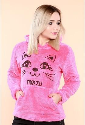 Zemin Giyim Kedi Baskılı Kapüşonlu Sweat-930