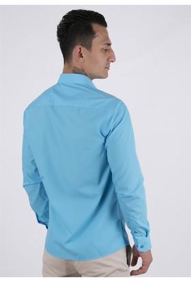 Golf Men Klasik Mavi Gömlek