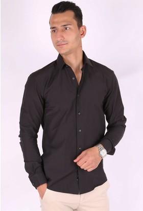 Madmext Golf Men Slim Fit Siyah Klasik Gömlek