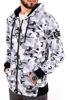 Madmext Kamuflaj Deseneli Beyaz Sweatshirt 2195
