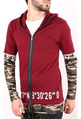 Madmext Kamuflaj Detaylı Kapşonlu Bordo Sweatshirt 2153