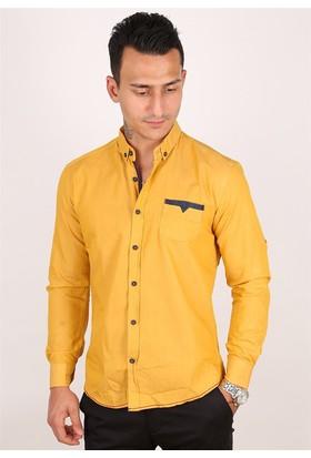 Madmext Cep Detaylı Sarı Gömlek 1592