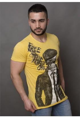 Madmext Baskılı Sarı Tshirt 1378